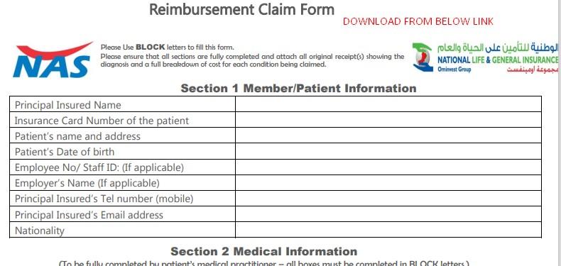 NAS Reimbursement Claim Form 2